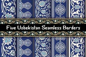 Five Uzbekistan Seamless Borders
