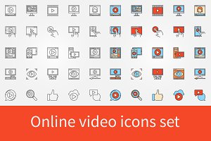 Online video icons set
