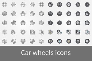 Car wheels icons