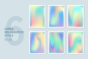 Cards holographic backgrounds set