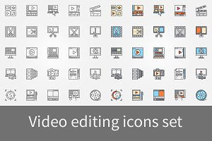 Video editting icons set