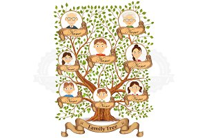 Family tree with portraits of family