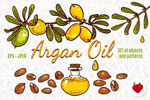 Set of branches, nut argan tree