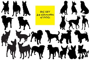 24 Silhouettes of dogs. BIG SET!