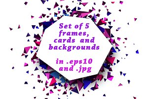 Set of 5 frames and backgrounds