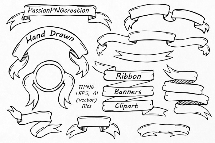 Popular Hand Drawn Ribbon Banners Clipart ~ Illustrations ~ Creative Market AR36