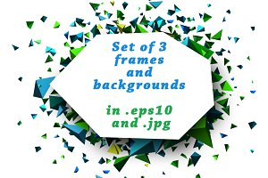 Set of 3 frames and backgrounds