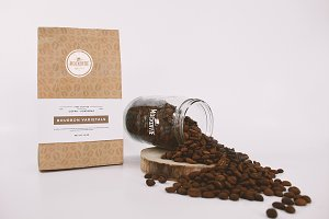 Coffee Bag and Glass Jar Mockup