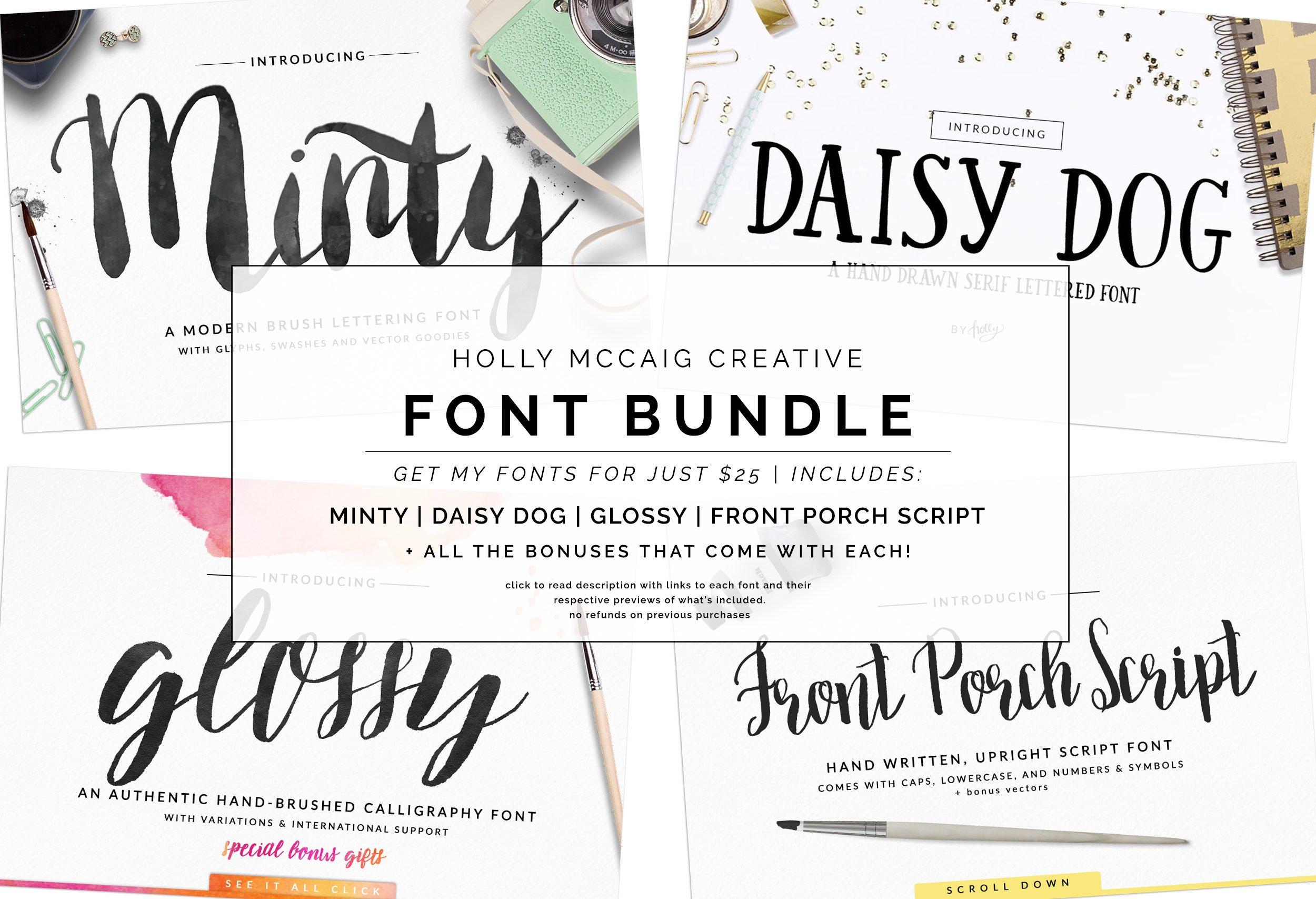Holly Font Bundle Brush Scripts Script Fonts Creative Market