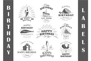 9 Birthday labels templates