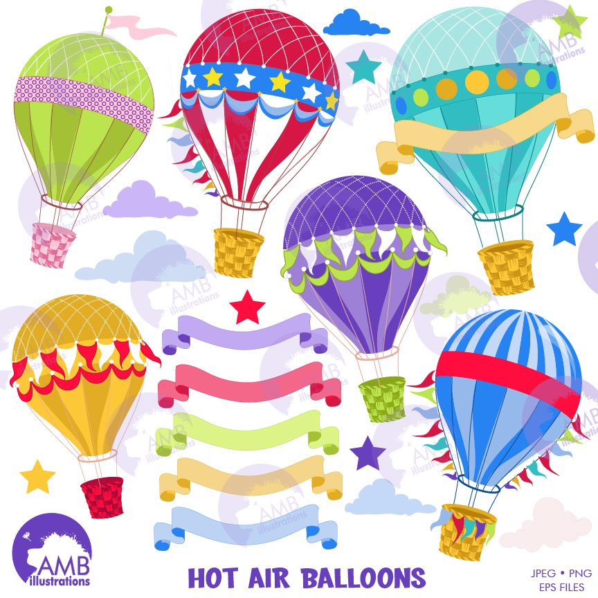 Hot Air Balloon Clipart 1248 Illustrations Creative Market