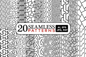 20 Abstract Line Seamless Patterns