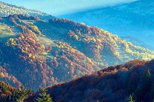 Sunbeam and autumn misty mountain.