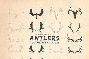 Antlers : Hand Drawn Antlers Pack