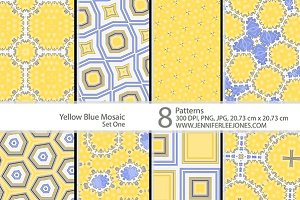 Yellow Blue Mosaic - Set One