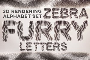 3D Zebra Furry Letters Pack