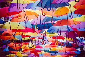 Colorful umbrellas background
