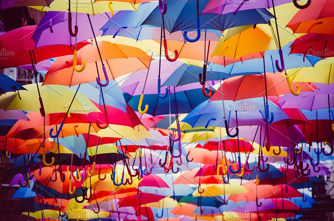 Wallpaper Umbrella Upside Down Floating Hd Creative: Colorful Umbrellas Background