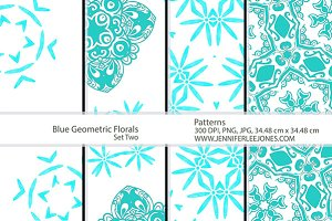 Blue Geometric Florals - Set Two