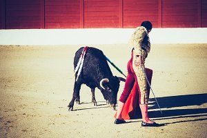Bullfighter giving a pass