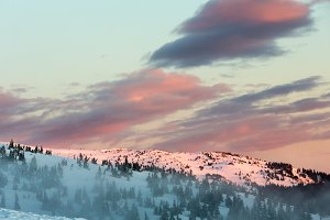 Sunrise winter mountain landscape