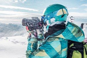 Girl Snowboarder, Peak of Mountains