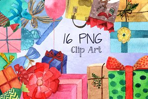 16 PNG Watercolor Presents Clip Art