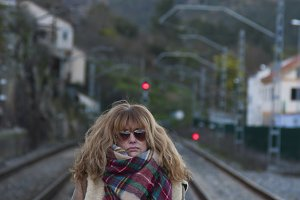 woman in the train station