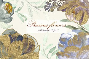 Precious flowers. Watercolor clipart