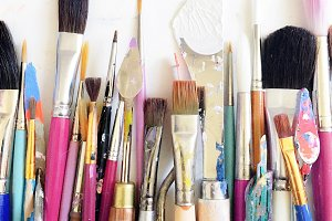 Colorful Artist Paintbrushes, Tools