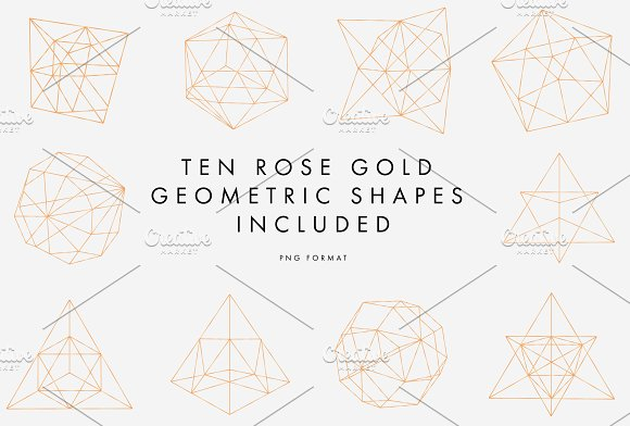 Rose Gold Geometric Pattern Graphic Objects Creative Market