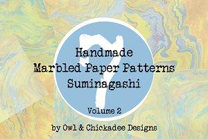 7 Handmade Marbled Paper Suminagashi
