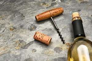 Wine Bottle Cork Screw on Slate
