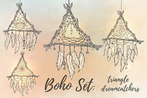 Boho Set: 4 triangle dreamcatchers