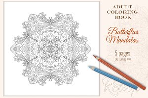 "Coloring Pages ""Butterflies Mandala"""