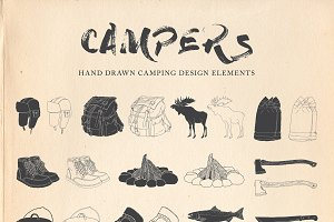 Campers : Hand Drawn Rustic Camping