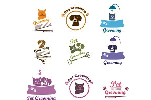Pet grooming labels and badges