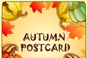 Autumn backgrounds and pumpkins set