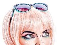 Girl makeup in style pop art