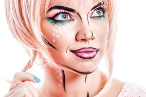 Girl makeup in style pop art