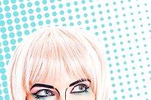 Girl with sunglasses. Pop art