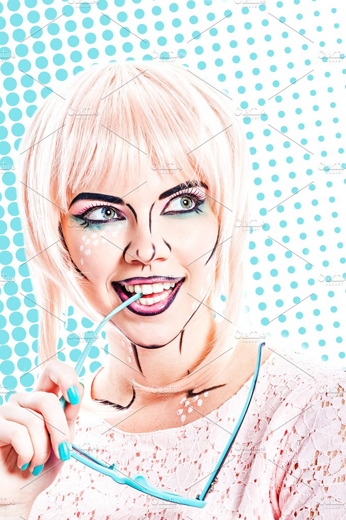 Girl with sunglasses. Pop art - People