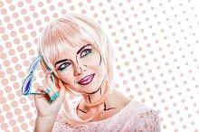 Girl in pink wig. Style pop art