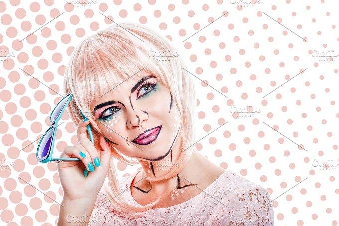 Girl in pink wig. Style pop art - People