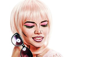 Makeup in style pop art. Girl