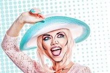 Girl in hat. Creative makeup Pop art