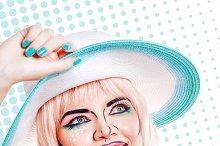 Retro style. Girl in hat pop art