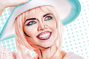 Retro style. Girl in hat pop art