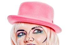 Girl in pink hat. Pop art style.