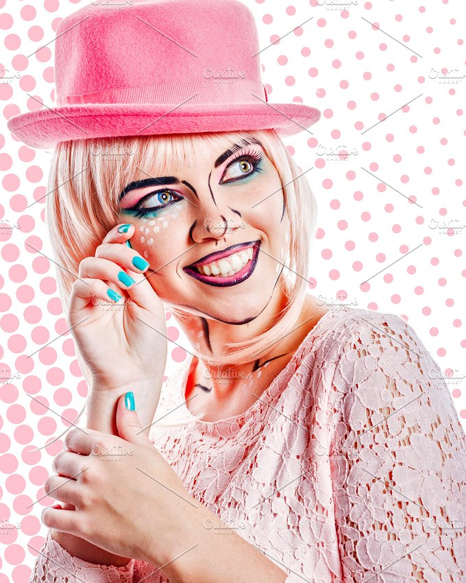 Human emotions. Girl in pink hat - Beauty & Fashion